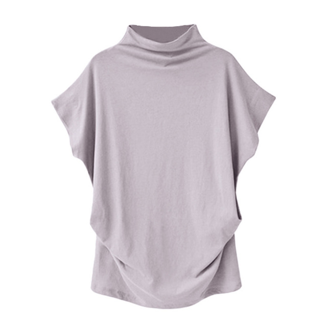 Women Casual Turtleneck Short Sleeve Cotton girl Solid Casual Blouse Top Shirt female Plus Size Solid girl clothing fashion 4