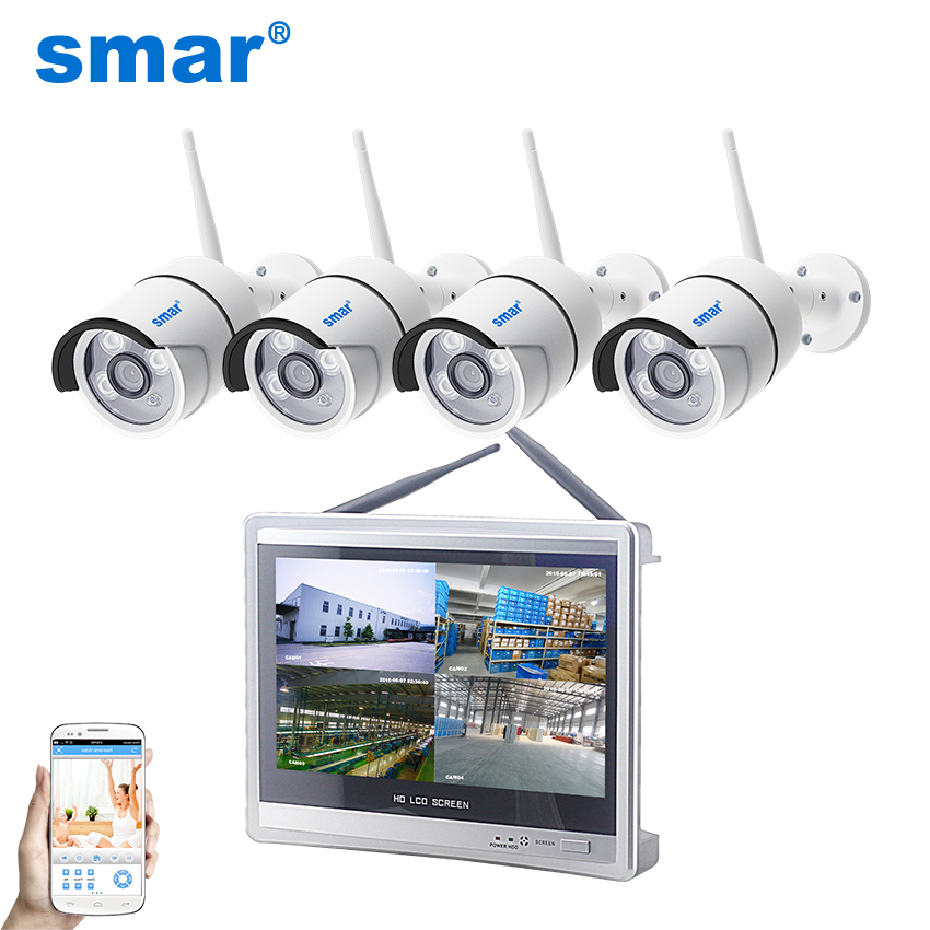 Smar 4CH CCTV System Wireless 720P/1080P 12 Inch NVR Security Camera System IR Outdoor P2P Wifi IP Camera Surveillance Kit