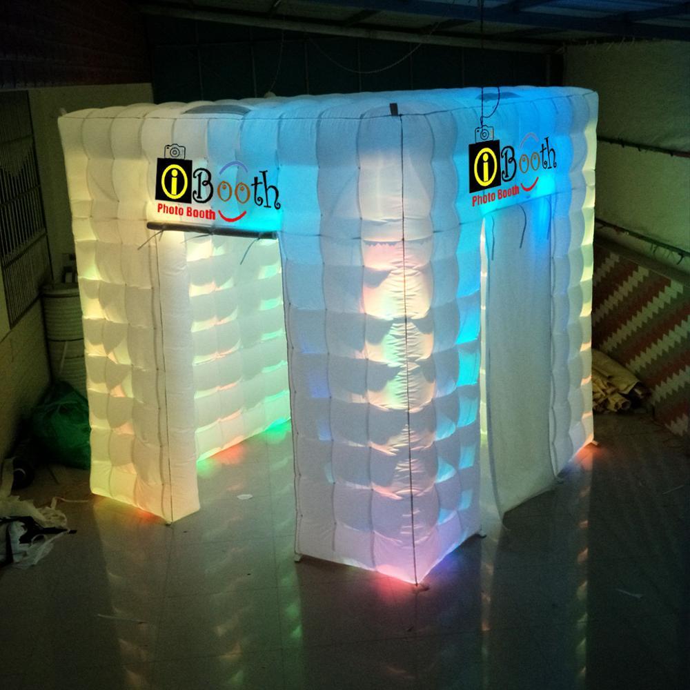 2.4 m 1 ou 2 portas gabinete cabine de cabine de fotos inflável, barraca cúbicos, fotógrafo particular/quiosque com/sem luzes para venda