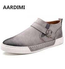 top quality vintage buckle men shoes spring flat with round toe brogue shoes man fashion 3 colors men flats dress shoes