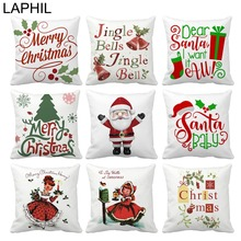 LAPHIL 45x45cm Polyester Pillow Case Merry Christmas Decorations for Home Santa Claus Ornaments Happy New Year 2019