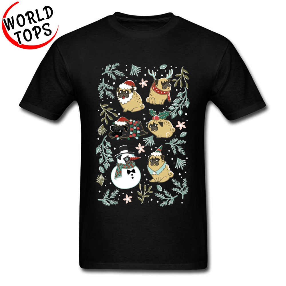 Well Chosen Christmas Santa Pugs Funky Men's T Shirts Fashion Interesting Tshirt Dachshund Shiba Inu Dog Teenage Tshirts Gift