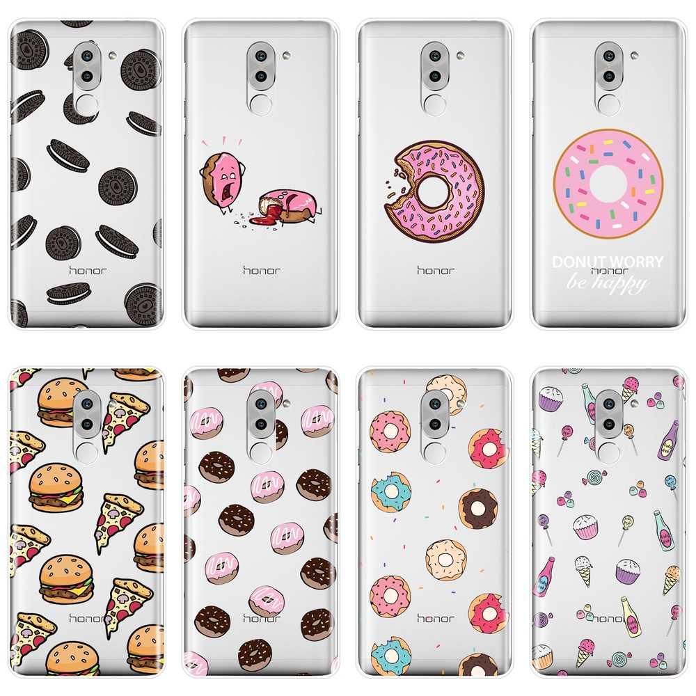 סופגנייה Cooky פיצה לשתות חזרה כיסוי עבור Huawei Honor 4C 5C 6C 6A פרו רך סיליקון טלפון Case עבור Huawei כבוד 6 5A 4X 5X 6X 6A