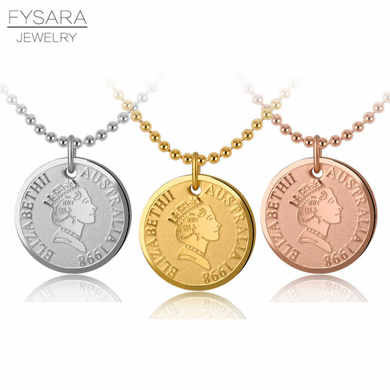 FYSARA European Isle Of Man Queen Elizabeth II Pendant Necklace Women Rose Gold Head Portrait Coin Necklace Vintage Jewelry