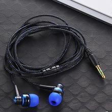高品質有線イヤホン真新しいステレオの耳で 3.5 ミリメートルナイロン織ケーブルの mic とラップトップ、スマートフォン #20