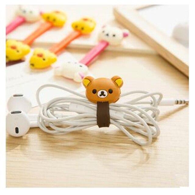 2 piezas coreano de doble cabeza de dibujos animados Animal Cable Winder fácilmente oso Chick Corea organizador de escritorio accesorios de oficina suministros escolares