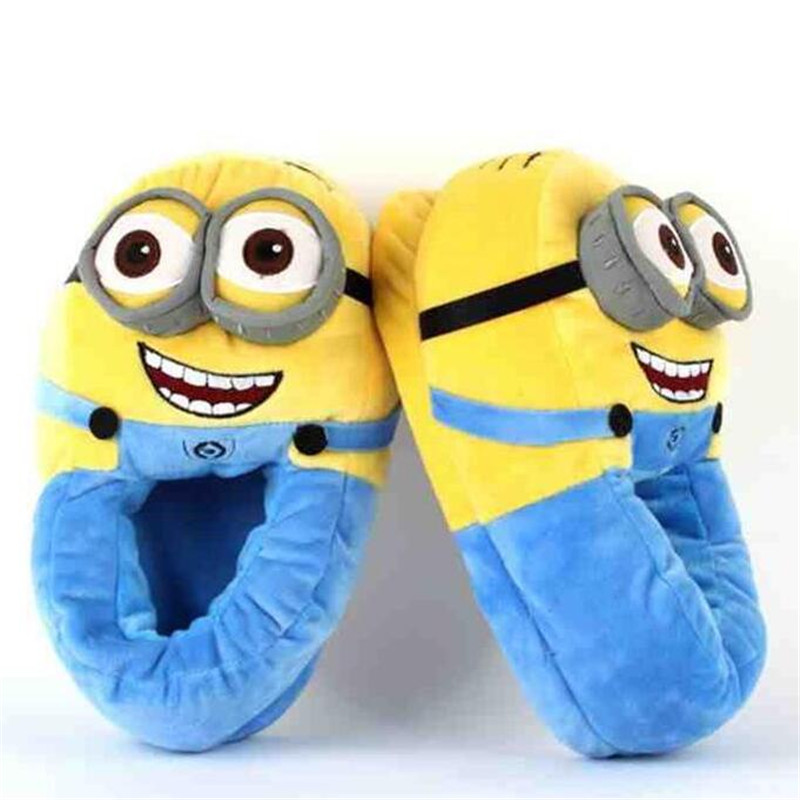 Woman House Slippers Minions Animal Slipper Cotton Warm Woman Slippers Home Plus Size 34 41 Valentine