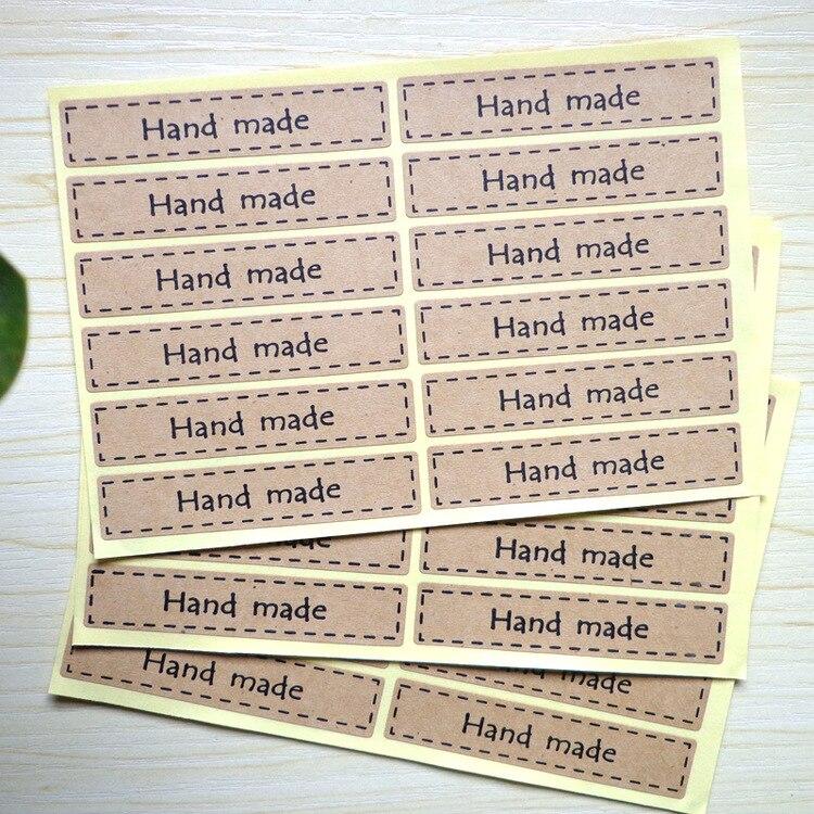 160Pcs 2018 Sale Hand Made Rectangle Packaging Sealing Label Kraft Sticker Cake Baking DIY Work Gift Box Stickers 7*1.5CM M1026