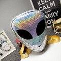 6 Tipos de Aliens Mochila 7 Cores Reflexão Do Laser 3D Estilo Harajuku Bolsa Escola para Adolescentes Mochila Transparente