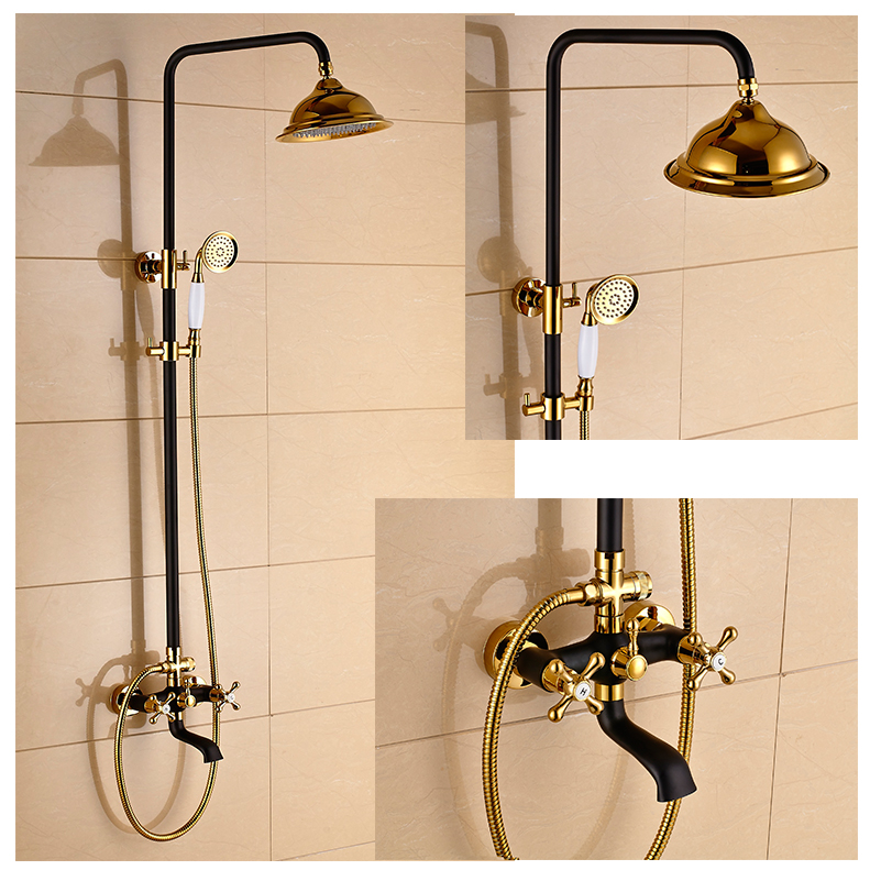 painting bathroom fixtures new shower faucet set wall mounted bathroom gold and black 13912