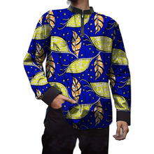 African male tops print long sleeve men t shirt fashion traditional design african dashiki patchwork africa clothing custom made