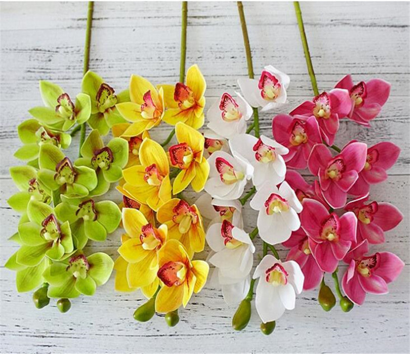 4p PU Orchids 3D Printing Effect Cymbidium Artificial Real Touch Orchid 6 Color for Wedding Centerpieces Home Decorative Flowers