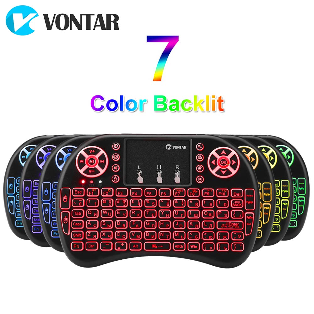 Original i8 2.4GHz Wireless mini Keyboard i8+ 7 colors backlit Touchpad mouse English Russian Spanish for Android TV BOX Mini PC цена и фото