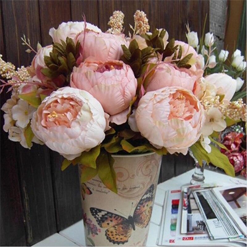Venta caliente 2 Color 8 Cabezas Ramo Peony Flores Artificiales Flores de Seda H