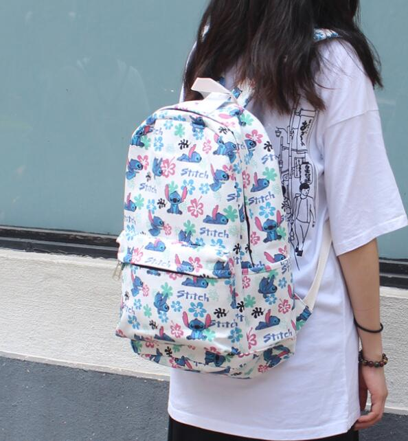 "Lilo&stitch Printing Anime Canvas Backpack Zipper Backpacks For Teenage Girls School Bag Women Travel Bag 15"" Students Bag"