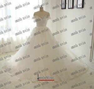 Image 3 - Novo modelo 2019 fora do ombro mangas vestido de casamento com trem longo 100% fotos reais