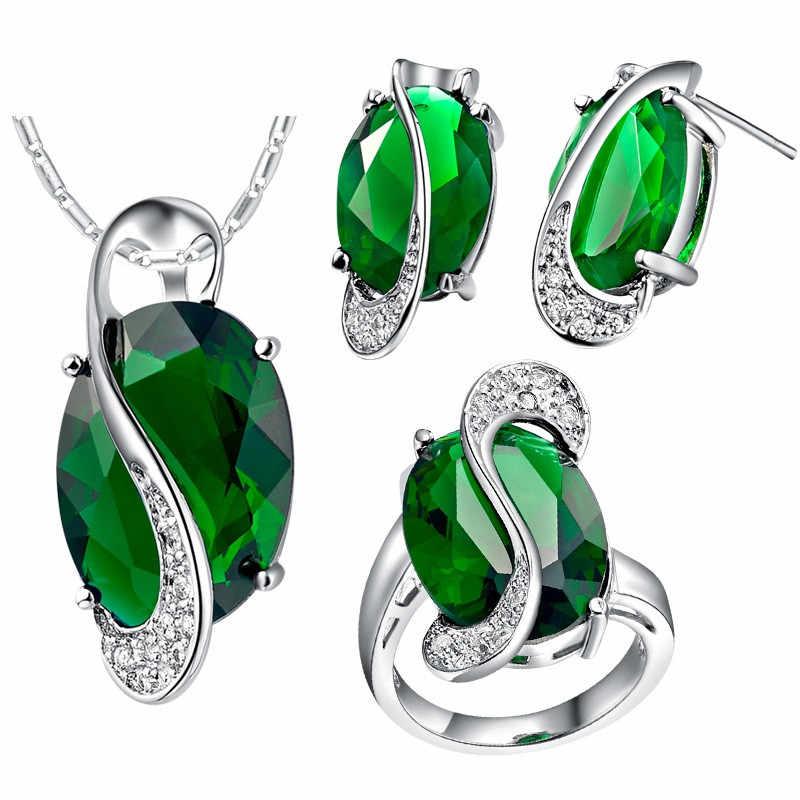 คริสตัลเจ้าสาวชุดเครื่องประดับ Statement แหวนต่างหูสร้อยคอชุดหินสีสำหรับผู้หญิง Bijoux Mariage D001-5