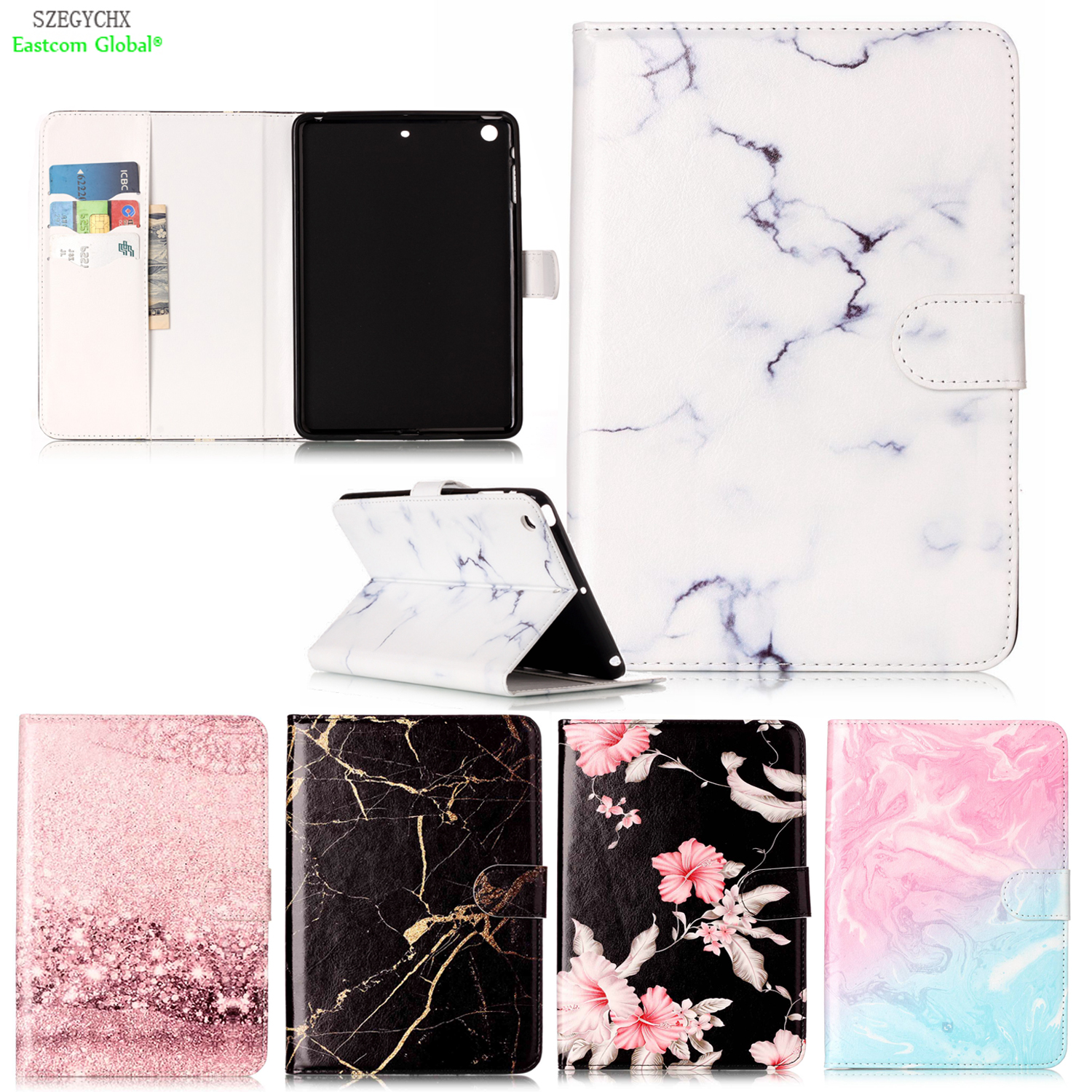 Marble Pattern PU Leather Flip Case For IPad Mini 1 2 3 Case Smart Cover Tablet
