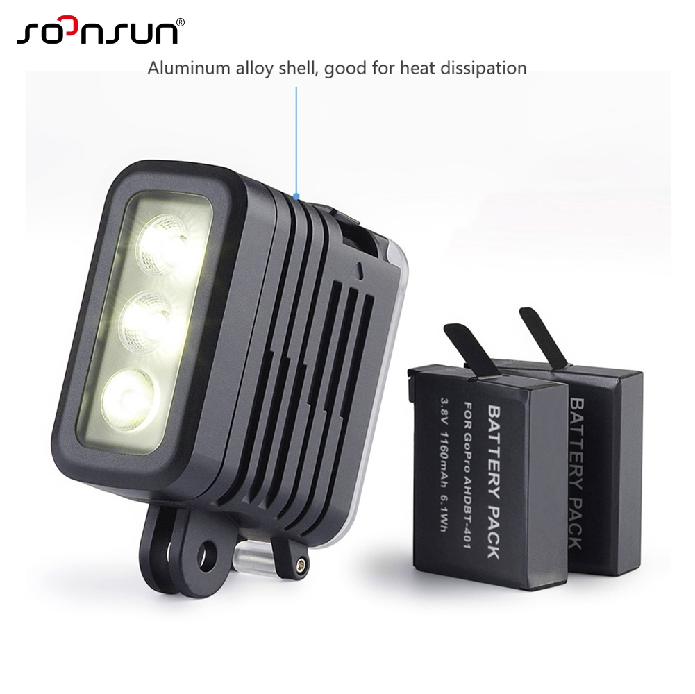 Image 3 - SOONSUN 50M Waterproof Underwater Diving LED Light w/ AHDBT 401 Dual Battery Spot Lamp for GoPro HERO 3 4 5 6 7 Go Pro Accessory-in Sports Camcorder Cases from Consumer Electronics