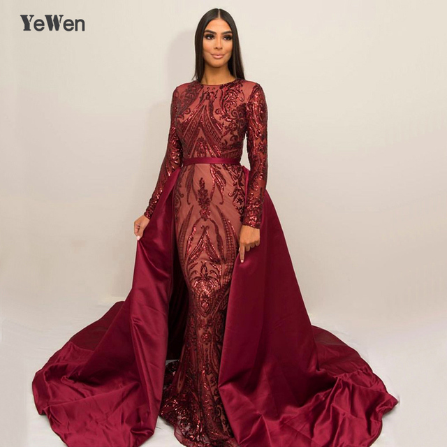 Burgundy Green Long Sleeves Luxury Mermaid Evening Dress Gown Appliques Sequined Fashion With Train Evening Gowns 2019 YeWen