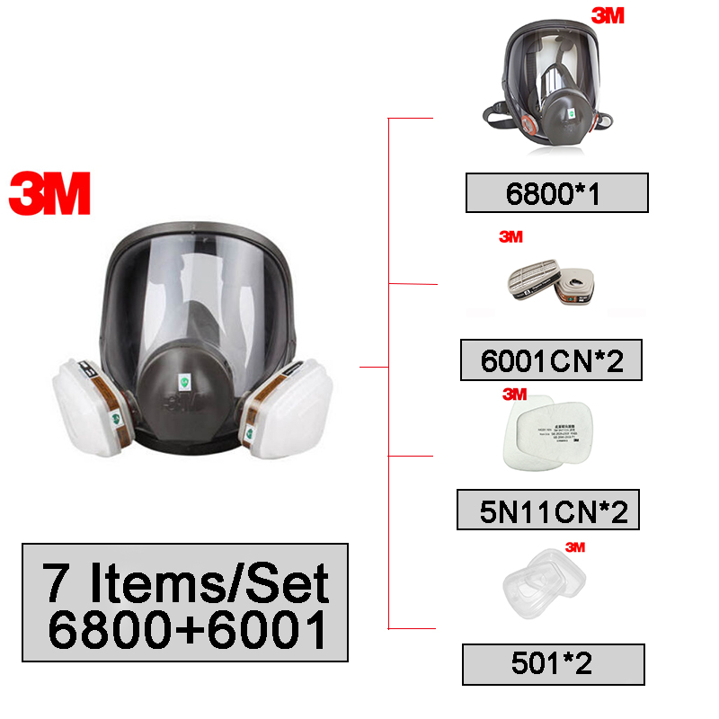 <font><b>3M</b></font> 6800 Full Facepiece Reusable Face Mask with <font><b>6001</b></font> Gas <font><b>Cartridges</b></font> Anti-Organic Vapor 7 Items for 1 Set LT100 image