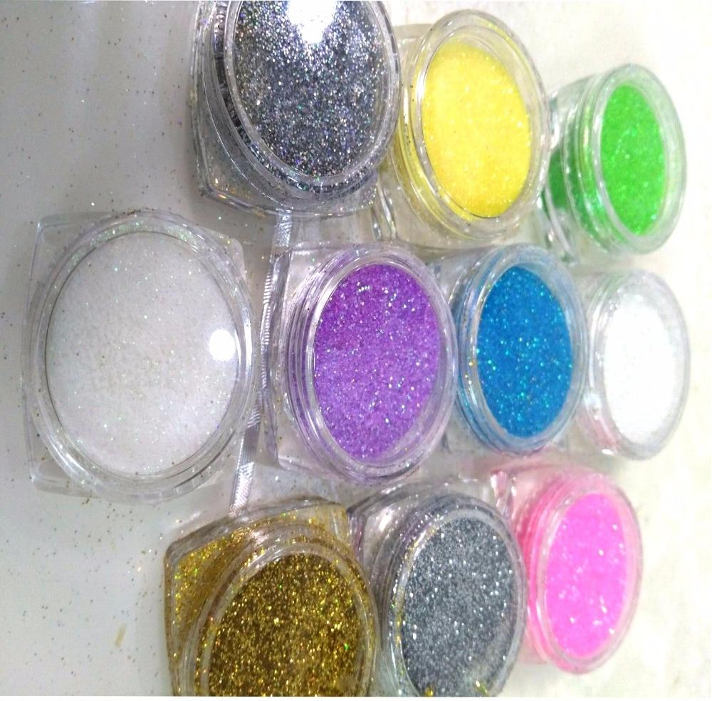 Freies Verschiffen 5g/jar 10 Farben/lot Farben Nail Art Glitter Pulver Staub Für Uv Gel Acryl Pulver Dekoration Tipps Rytyt7687878