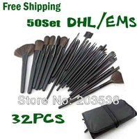 Free Shipping By EMS DHL 50 Set Lot New Fiber Hairy 32 Pcs Professional Makeup Brushes