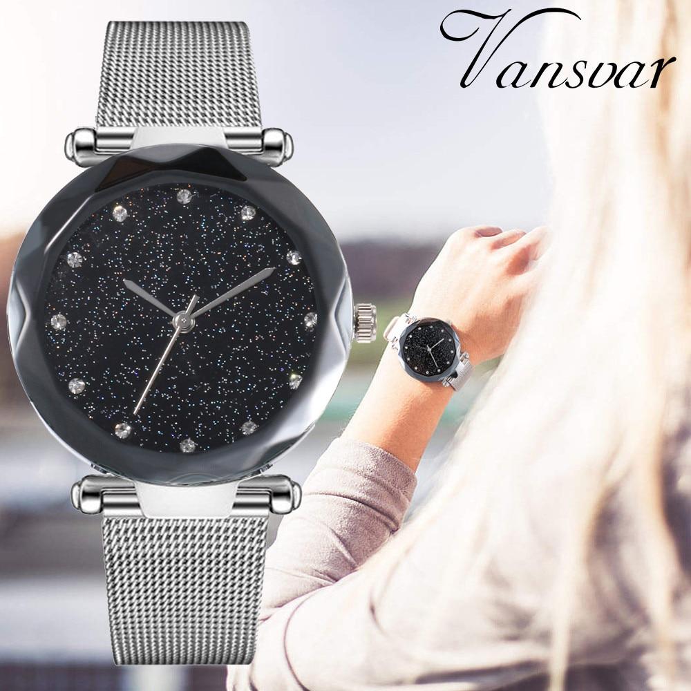 Vansvar Hot Sale Fashion Stainless Steel Rose Gold & Silver Band Quartz Watch Luxury Women Starry Sky Watches Valentine Gift 533