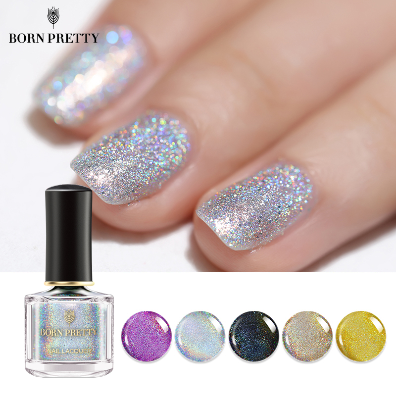 BORN PRETTY Holographic Laser Nail Polish 6ml Colorful Holo Varnish Shining Glitter Nail Art LacquerBORN PRETTY Holographic Laser Nail Polish 6ml Colorful Holo Varnish Shining Glitter Nail Art Lacquer