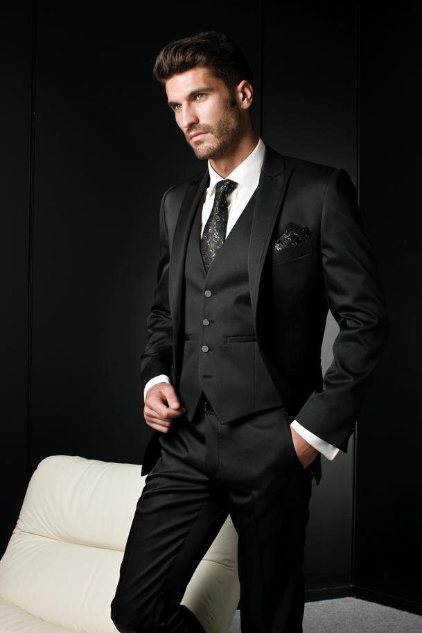 Traje Lujo Vestido Los Trajes Negro Hombre Formal Para Novia Pantalones Italiano Conjunto De Hombres Novio Boda Chaqueta WHE9I2D