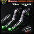 For Kawasaki VERSYS 1000 2015 2016 Laser Logo(Versys) Green+Titanium 8 Colors New CNC Adjustable Motorcycle Brake Clutch Levers