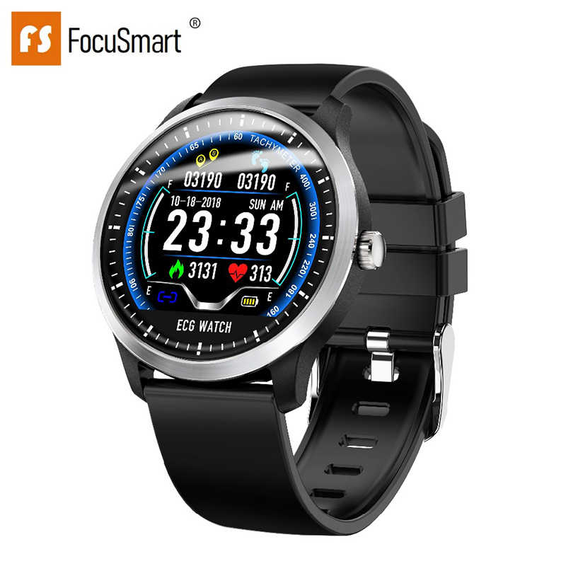 Focusmart 2019 Baru N58 Smart Watch dengan EKG PPG Layar Warna Monitor Detak Jantung Tekanan Darah Kebugaran Tracker Smart Watch