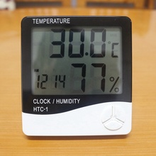 Digital Room LCD Thermometer Electronic Temperature Humidity Meter Hygrometer Weather Station Indoor Alarm Clock HTC-1