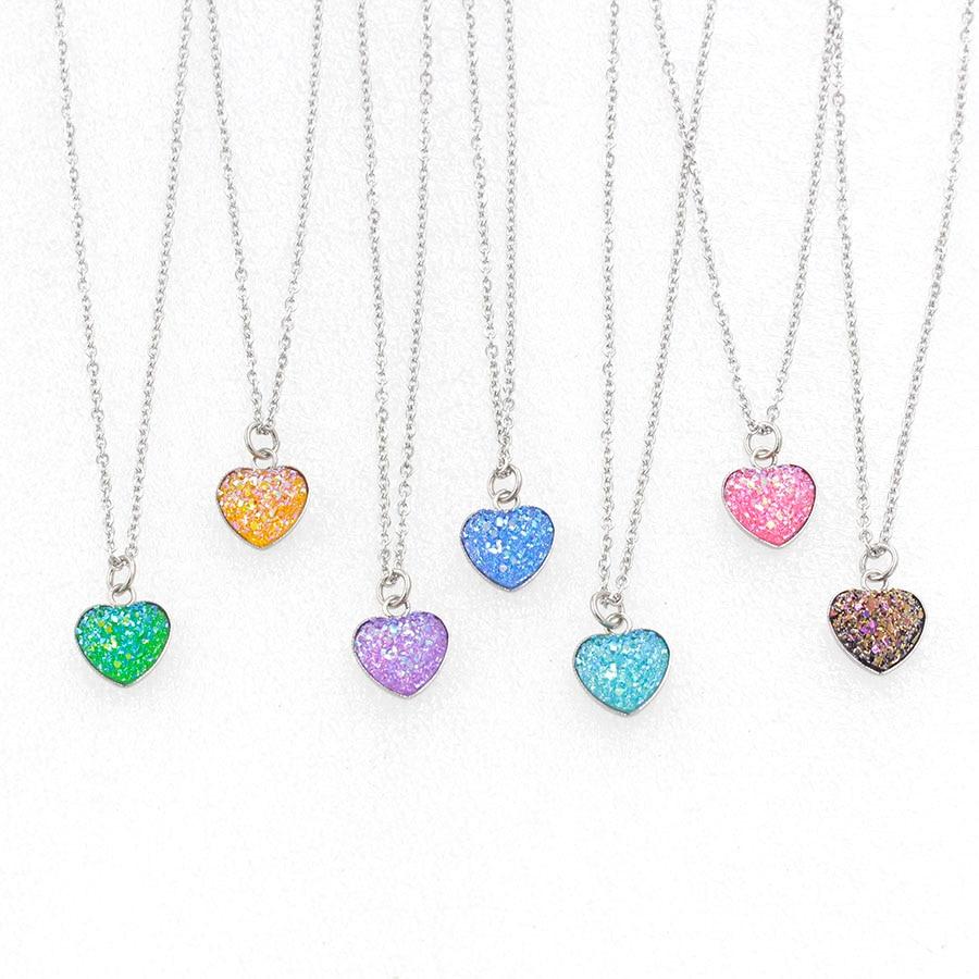 Fnixtar Stainless Steel Love Heart  Drusy Resin Cabochon Round Pendant Necklaces Length 40(16)45cm (18) 50cm 20 20pieceslot