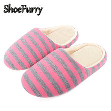 ShoeFurry Winter Flats Shoes Woman Home Slippers Soft Plush Indoor Shoes Women Cotton Slippers Striped Men Warm Furry Slippers(China)