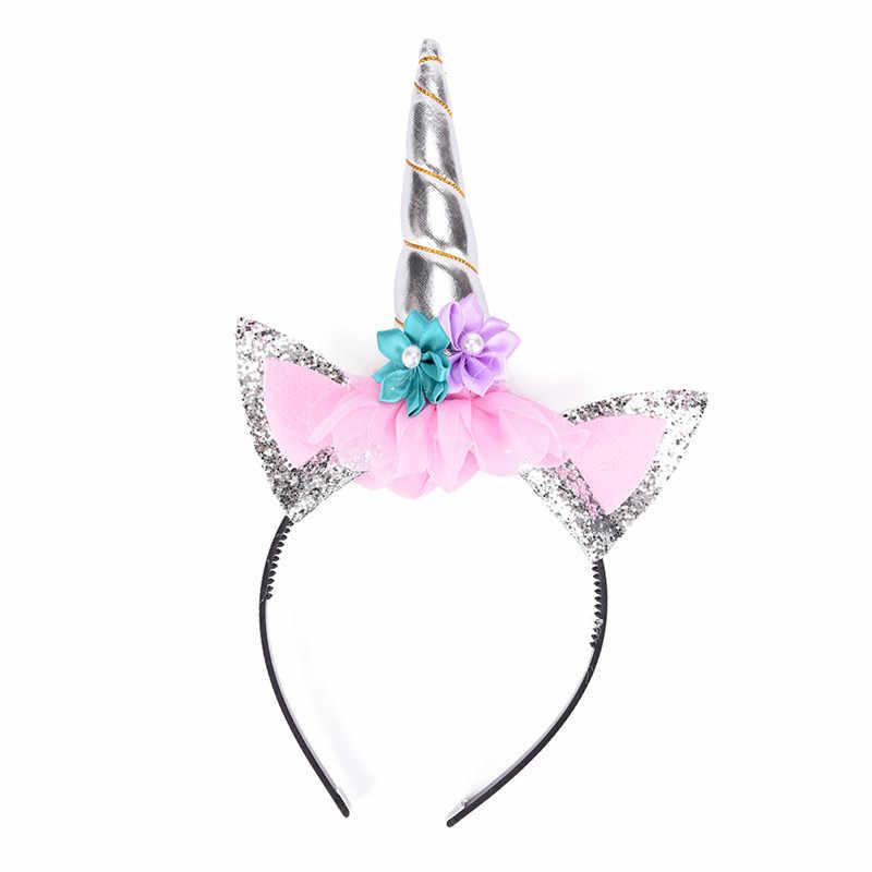 ยูนิคอร์น Hairband Rainbow Unicorn Cat หูปาร์ตี้เด็กการ์ตูน Headband อุปกรณ์เสริมผมสำหรับ PARTY ของขวัญเด็ก Unicorn Horn Headband
