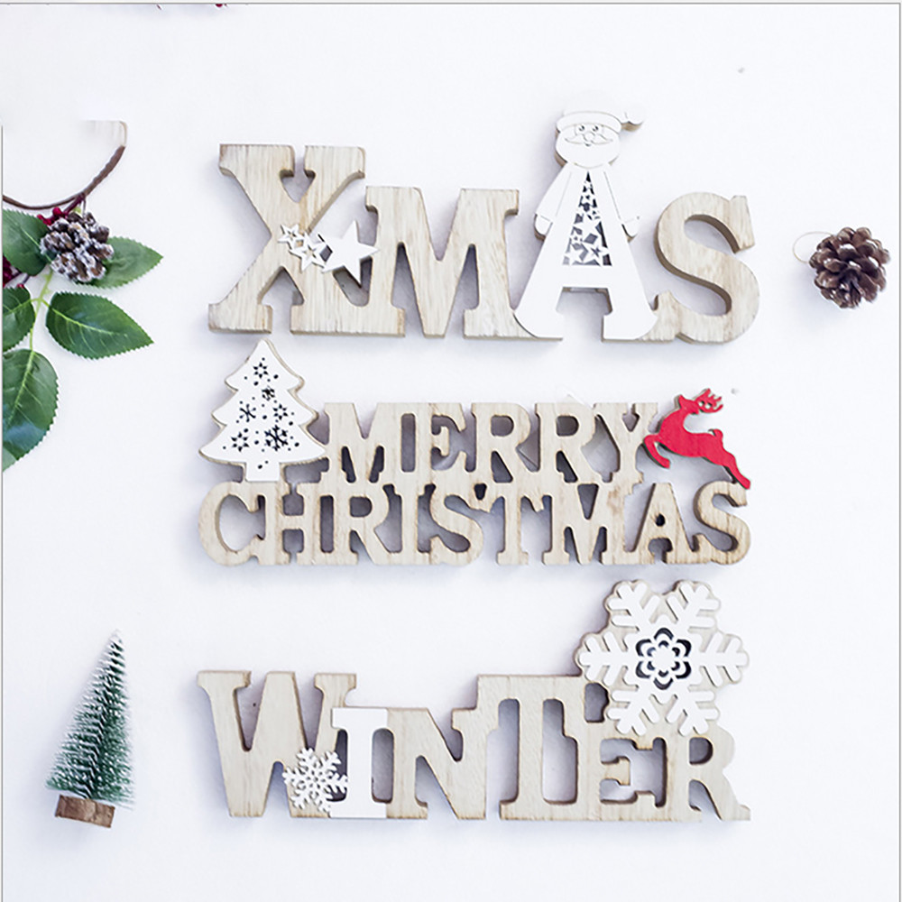 Merry Christmas Letter Decorations Wooden Shapes Ornaments ...