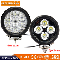 40W 5 inch Round Led Work lights 12V Led Driving light 3600LM with Stainless steel bracket Car Spot Flood Led offroad light x1