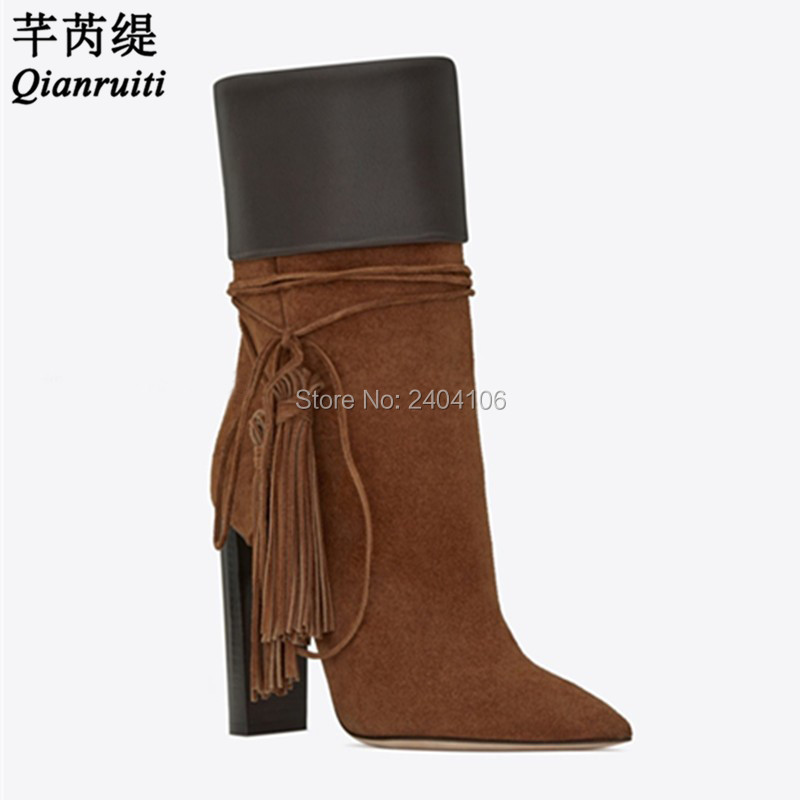 Bloque Toe Pointy Celebrity Tacones Negro Brown Suede as Pic Runway Borlas Pic Zapatos Tobillo Botas Fringe Altos As Mujer Qianruiti FI4wPPq