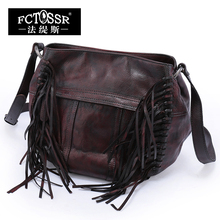 2017  Vintage Genuine Leather Women Shoulder Bag Handmade Cow Leather Messenger Bag  Magnetic Buckle Tassel