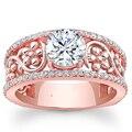 Пышное Цветок Обручальное Кольцо 1CT Круглый Cut Moissanites EDI 14 К Розовое Золото Лаборатория Grown Кольцо С Бриллиантом Для Женщин ювелирные изделия