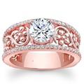 Exuberante Flor Anillo de Compromiso 1CT Corte Redondo Moissanites EDI 14 K Laboratorio Crecido Anillo de Diamante de Oro Rosa Para Las Mujeres Bellas joyería