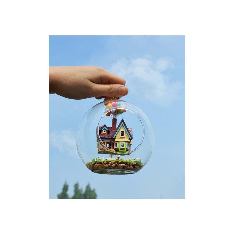 Novelty DIY <font><b>House</b></font> <font><b>Glass</b></font> Ball Flying Cabin Toy,Pixar Film Up Model With Miniature Furnitures,Wooden Mini Handmade Model Gift Toy