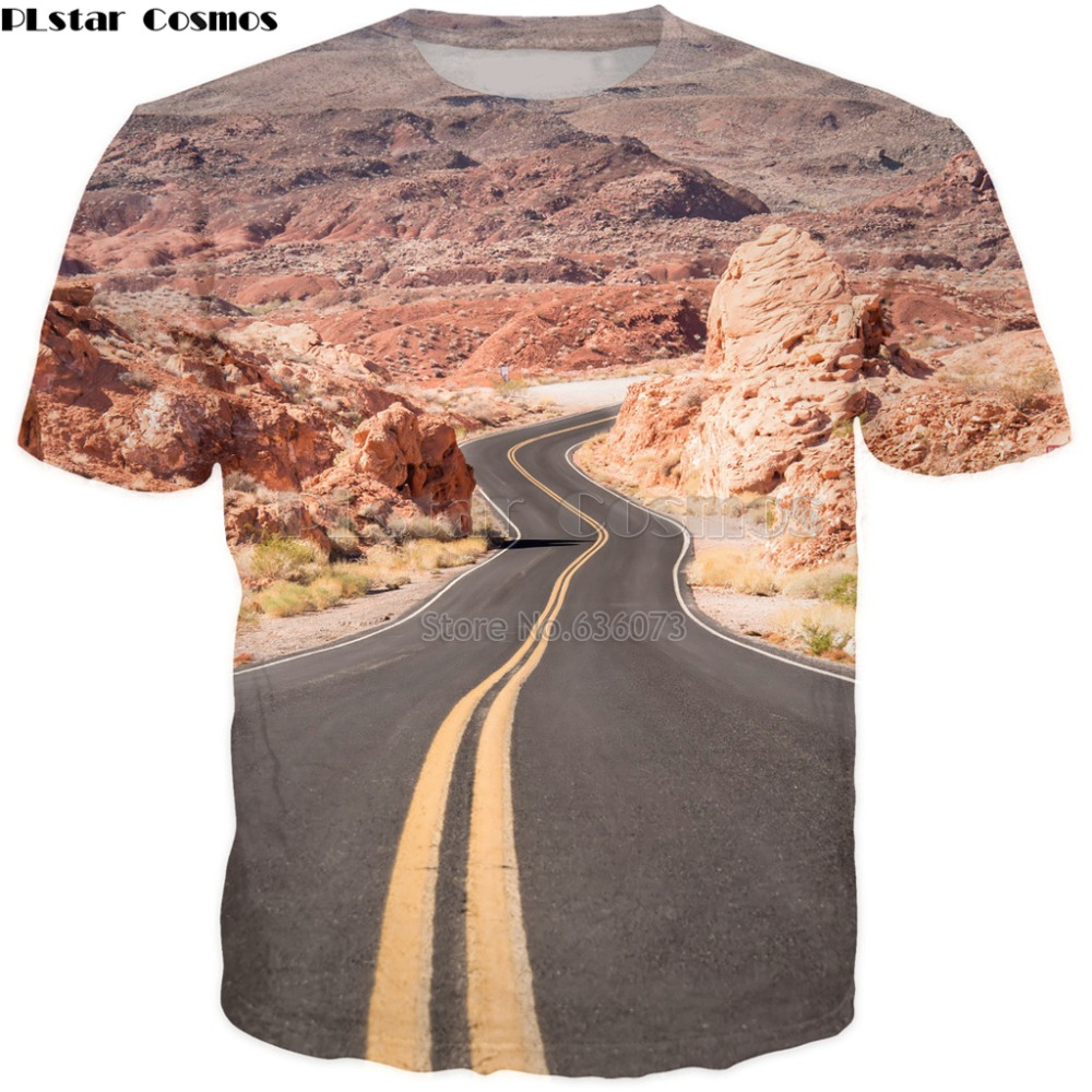 PLstar Cosmos Drop shipping 2018 summer New style Fashion Mens/Womens T-shirt Road trip USA 3D Print Casual Cool t shirt image