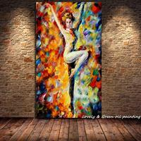 Cuchillo de paleta pintada a mano Mujer Desnuda Sexy Óleo Cuerpo Desnudo bailarina Lienzo Arte de La Pared Decoración Del Hogar Moderno Abstracto imagen