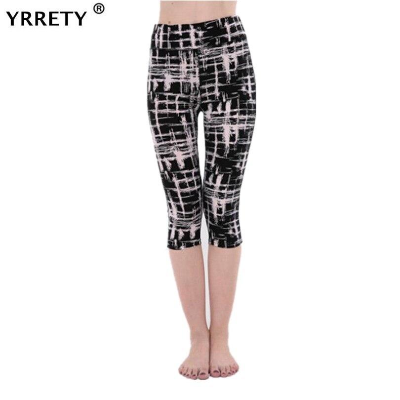 YRRETY Women Leggings Pantalones Black Milk Print Leggings Summer Style Soft Skin Material Calf-Length Pants Women Soft Leggins