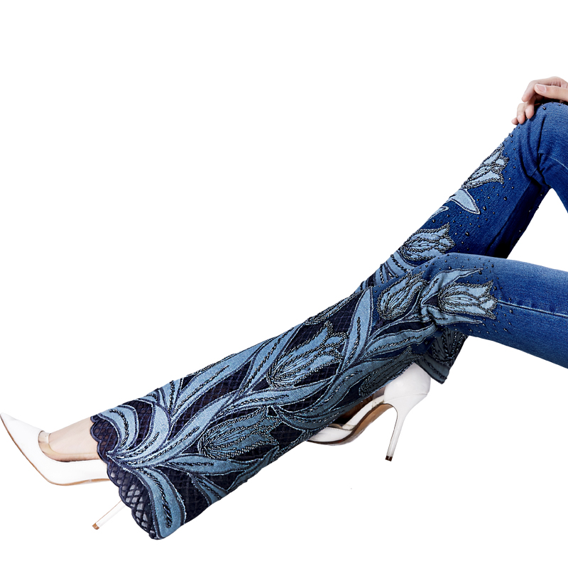 8c058fed18b ACRMRAC woman embroidery Beads micro folk custom Lace edge High waist  Elasticity Slim Flare Pants jeans Women-in Jeans from Women's Clothing on  ...