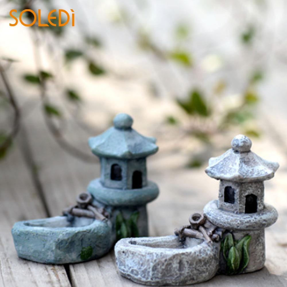 Figurines Micro Landscape Mini Decor Pond Tower Resin Lifelike Garden Miniature Beautiful Lawn
