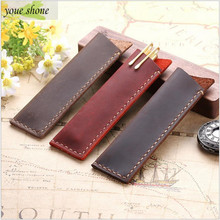 цена 1PCS Retro Crazy Horse Leather Pen Set Pen Cover Hand Sewn Leather Bag Creative Stationery Gift Leather Pencil Case YOUE SHONE