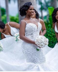 Image 4 - Luksusowe afryki suknie ślubne syrenka Plus rozmiar 2019 Robe de mariee czarny dziewczyna kobiety koronkowe suknie ślubne ręcznie robione suknia dla panny młodej
